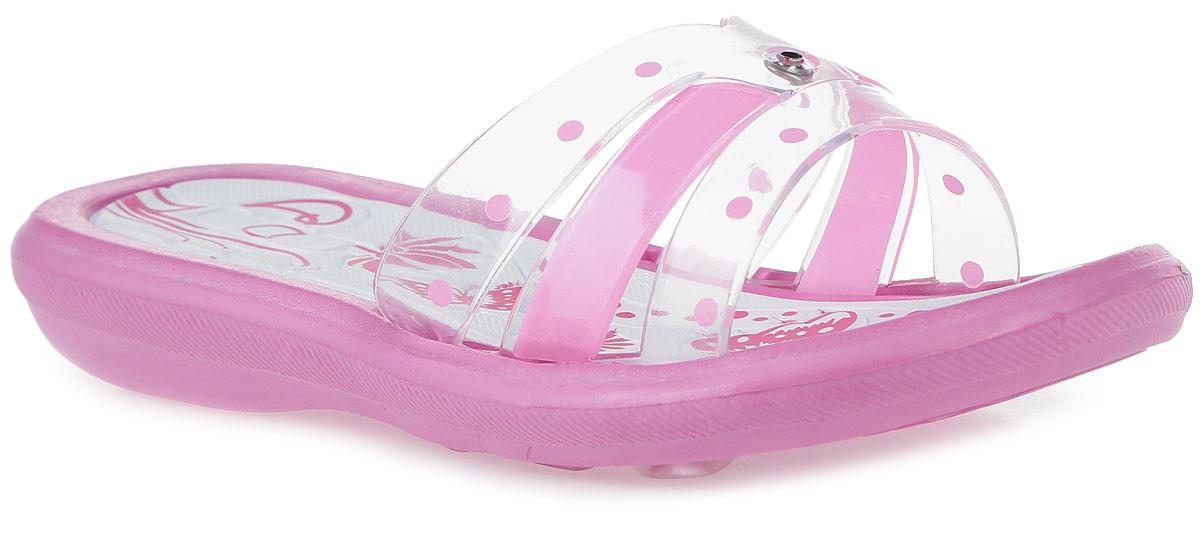 Шлепанцы для девочки Котофей, цвет: розовый, белый, прозрачный. 525016-02. Размер 31525016-02Стильные шлепанцы для девочки от Котофей придутся по душе вашей девочке. Верх модели, выполненный из резины, оформлен милым бантиком и принтом в горох. Верхняя поверхность подошвы оформлены рельефом и принтом. Основание подошвы дополнено рифлением.