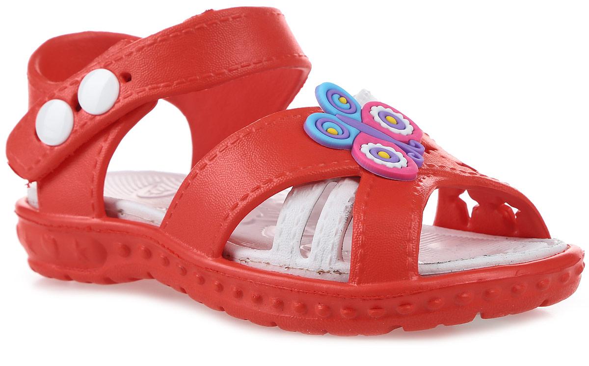 Сандалии для девочки Котофей, цвет: красный, белый. 325033-01. Размер 25325033-01Модные сандалии для девочки от Котофей полностью выполнены из материала ЭВА. Верхняя поверхность подошвы дополнена рельефом, который обладает массажными свойствами. Ремешок с кнопками надежно зафиксирует модель на ноге. Основание подошвы дополнено рифлением.