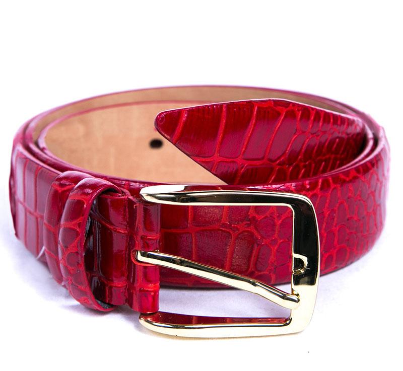 Ремень женский Milana, цвет: красный. 1350-3140-0000. Размер 1201350-3140-0000Стильный женский ремень Milana изготовлен из натуральной кожи. Пряжка выполнена из металла, она позволит легко и быстро зафиксировать ремень и отрегулировать его длину. Элегантный ремень оформлен фактурным принтом, он превосходно сочетается с любыми нарядами.Уважаемые клиенты! Обращаем ваше внимание на тот факт, что размер ремня, доступный для заказа, является его длиной.