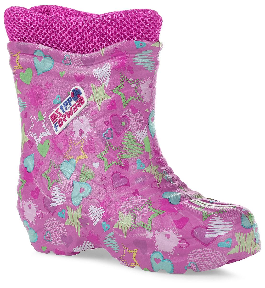 Сапоги резиновые для девочки Step Forward, цвет: розовый. Т-102D-А16. Размер 32Т-102D-А16Детские резиновые сапоги для девочек от Step Forward - идеальный вариант для дождливой холодной погоды! Модель изготовлена из материала ЭВА. Отсутствие швов гарантирует максимальную прочность и 100% защиту от воды и грязи.