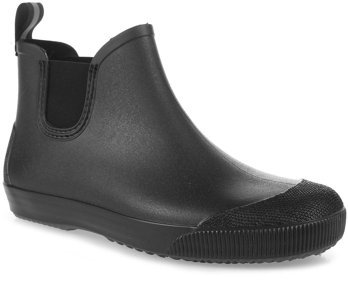 Сапоги резиновые мужские Nordman, цвет: черный. ПС 30. Размер 44ПС 30Мужские резиновые ботинки Nordman выполнены из водонепроницаемого экологичного материала, имитирующего изделие из кожи. По бокам имеются эластичные вставки. На заднике предусмотрена петелька для удобства обувания. Гибкая мягкая подошва обеспечивает идеальное сцепление с разными поверхностями.