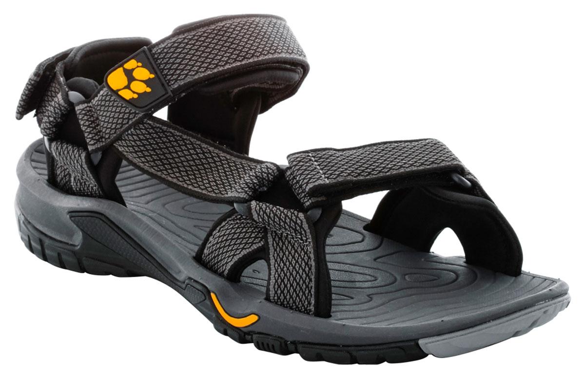 Сандалии мужские Jack Wolfskin Lakewood Ride Sandal, цвет: темно-серый. 4019021-3800. Размер 7 (39)4019021-3800Очень легкие сандалии для занятий спортом и повседневной жизни. Простые, легкие и воздушные сандалии LAKEWOOD RIDE оснащены мягкими неопреновыми подкладками только в нужных местах. Это способствует снижению веса, как и легкая, шероховатая подошва. Сандалии LAKEWOOD RIDE подойдут для занятий спортом на суше и в воде. С помощью трех застежек-липучек сандалии быстро подгоняются под форму ноги.