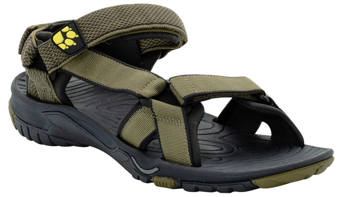 Сандалии мужские Jack Wolfskin Lakewood Ride Sandal, цвет: оливковый. 4019021-4088. Размер 8 (40,5)4019021-4088Очень легкие сандалии для занятий спортом и повседневной жизни. Простые, легкие и воздушные сандалии LAKEWOOD RIDE оснащены мягкими неопреновыми подкладками только в нужных местах. Это способствует снижению веса, как и легкая, шероховатая подошва. Сандалии LAKEWOOD RIDE подойдут для занятий спортом на суше и в воде. С помощью трех застежек-липучек сандалии быстро подгоняются под форму ноги.