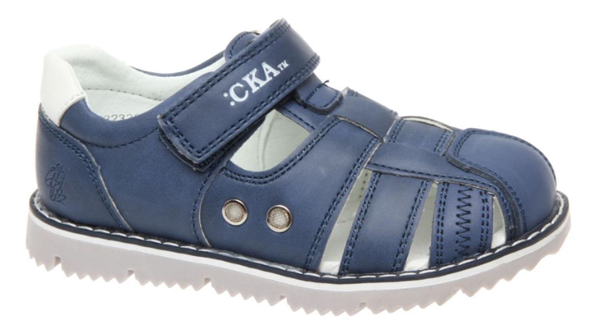 Сандалии для мальчика Сказка, цвет: светло-синий. R323321002. Размер 30R323321002Стильные сандалии Сказка придутся по душе вашему моднику! Модель выполнена из искусственной и натуральной кожи. Обувь оформлена оригинальным принтом. Мягкая стелька с поверхностью из натуральной кожи.Удобные сандалии - необходимая вещь в гардеробе каждого ребенка.