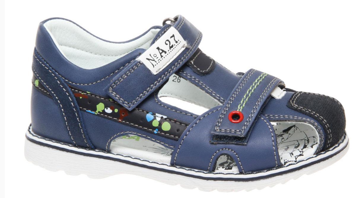 Сандалии для мальчика Сказка, цвет: светло-синий. R330321012. Размер 28R330321012Стильные сандалии Сказка придутся по душе вашему моднику! Модель выполнена из искусственной и натуральной кожи. Обувь оформлена оригинальным принтом. Мягкая стелька с поверхностью из натуральной кожи.Удобные сандалии - необходимая вещь в гардеробе каждого ребенка.