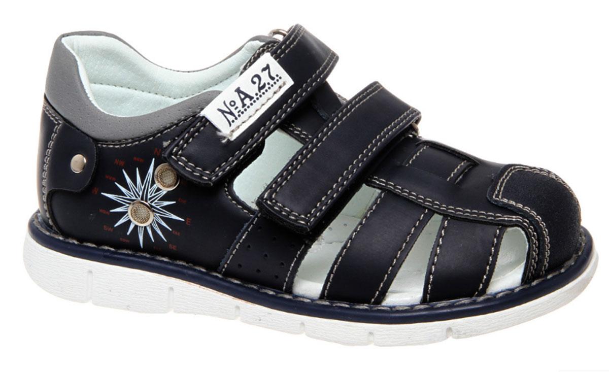 Сандалии для мальчика Сказка, цвет: темно-синий. R603221022. Размер 26R603221022Стильные сандалии Сказка придутся по душе вашему моднику! Модель выполнена из искусственной и натуральной кожи. Обувь оформлена оригинальным принтом. Мягкая стелька с поверхностью из натуральной кожи.Удобные сандалии - необходимая вещь в гардеробе каждого ребенка.