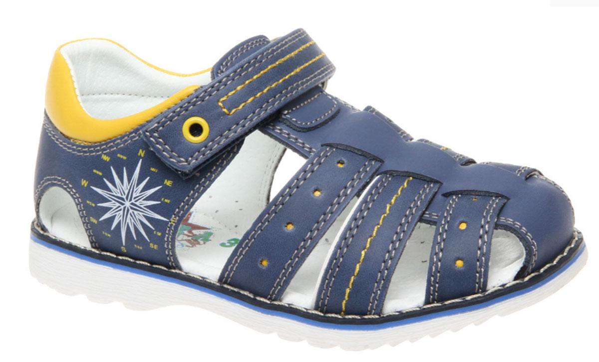Сандалии для мальчика Сказка, цвет: темно-синий. R330321011. Размер 31R330321011Стильные сандалии Сказка придутся по душе вашему моднику! Модель выполнена из искусственной и натуральной кожи. Обувь оформлена оригинальным принтом. Мягкая стелька с поверхностью из натуральной кожи.Удобные сандалии - необходимая вещь в гардеробе каждого ребенка.