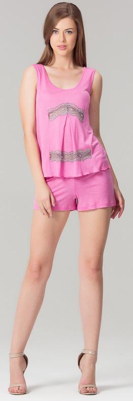 Комплект одежды женский Tesoro, цвет: розовый лепесток. 407П1. Размер 48407П1Домашний комплект, состоящий из футболки и шорт из нежной вискозы. Короткие шортики с карманами на резинке, топ с принтом.