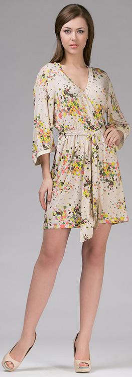 Халат женский Tesoro, цвет: ванильный. 347Х1. Размер 46347Х1Короткий халат-кимоно с запахом. Выполнен из мягкого вискозного полотна.