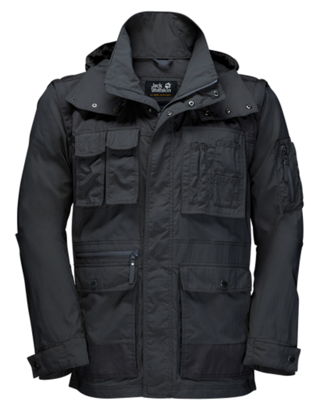 Ветровка мужская Jack Wolfskin Atacama Jacket, цвет: черный. 1304461-6350. Размер L (48/50)1304461-6350Ветровка мужская Atacama Jacket отлично подойдет для путешествий и ежедневной носки. Основная часть куртки выполнена из ткани SUPPLEX (100% полиамид). Это легкая, мягкая и быстро сохнущая ткань, которая, кроме всего прочего, обладает высокой защитой от ультрафиолета (UPF 40+). Плечи куртки усилены материалом FUNCTION 65 WAX (полиэстер с добавлением хлопка). Эта ткань обладает защитой от ветра, воды, она гладкая и приятная на ощупь. Модель застегивается на молнию и имеет внутреннюю и внешнюю ветрозащитную планку. Спереди расположены 5 накладных объемных карманов с клапаном на кнопке, два боковых вшитых кармана и вшитый карман на молнии. Модель снабжена длинными отстегивающимися рукавами на молниях. Манжеты рукавов регулируются с помощью хлястика на кнопке. Левый рукав оснащен дополнительным вшитым карманом. Изделие имеет воротник-стойку и капюшон, который можно спрятать. Модель выполнена в однотонном дизайне и дополнена логотипом бренда.