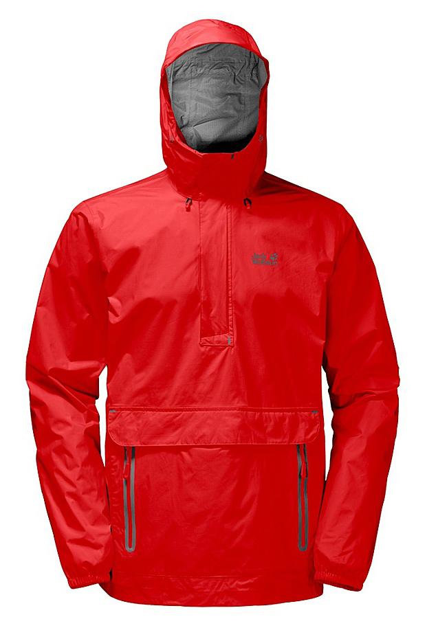 Куртка мужская Jack Wolfskin Cloudburst Smock M, цвет: красный. 1109181-2681. Размер L (48/50)1109181-2681Куртка-анорак Cloudburst Smock изготовлена из 100% полиамида. Ткань легкая, дышащая, водонепроницаемая и непродуваемая. Модель имеет длинные стандартные рукава с манжетами на резинке, капюшон с регулировкой объема и воротник на молнии. Спереди расположен большой карман с клапаном, в котором удобно хранить карты, GPS и другие необходимые в походе вещи, а также два кармана на молнии. Такая куртка идеальна для небольших походов в лесу или в горах. Если вдруг вас застанет дождь, то не переживайте - куртка не даст вам промокнуть, и вы с комфортом доберетесь до места назначения. Модель компактно складывается и не занимает много места в рюкзаке.