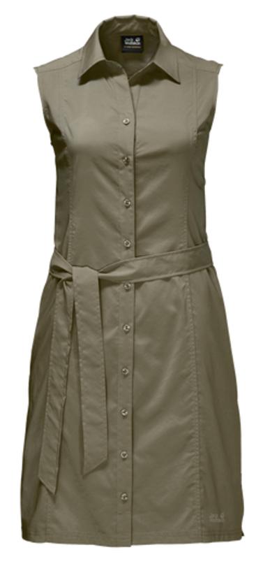 Платье Jack Wolfskin Sonora Dress, цвет: оливковый. 1503991-5033. Размер L (48)1503991-5033Платье Sonora Dress выполнено из 100% полиэстера. Ткань мягкая, легкая, слегка эластичная, приятная на ощупь, она обладает защитой от ультрафиолета (UPF 30+), отлично отводит влагу от тела и моментально сохнет при намокании. Модель без рукавов застегивается на пуговицы, имеет отложной воротник, пояс в комплекте и секретный карман. Модель выполнена в однотонном дизайне. Такое платье идеально подходит для путешествий в жаркие страны и повседневной носки в летний сезон.