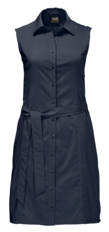 Платье Jack Wolfskin Sonora Dress, цвет: темно-синий. 1503991-1910. Размер S (44)1503991-1910Платье Sonora Dress выполнено из 100% полиэстера. Ткань мягкая, легкая, слегка эластичная, приятная на ощупь, она обладает защитой от ультрафиолета (UPF 30+), отлично отводит влагу от тела и моментально сохнет при намокании. Модель без рукавов застегивается на пуговицы, имеет отложной воротник, пояс в комплекте и секретный карман. Модель выполнена в однотонном дизайне. Такое платье идеально подходит для путешествий в жаркие страны и повседневной носки в летний сезон.