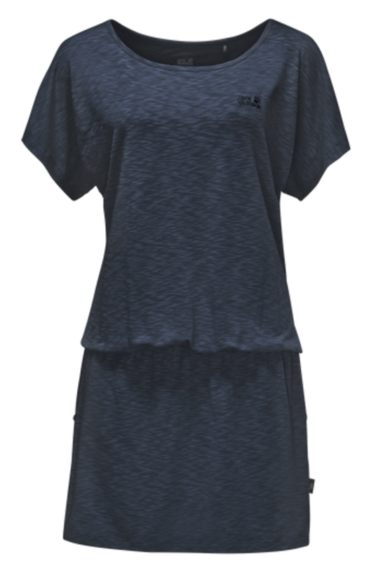Платье Jack Wolfskin Travel Dress, цвет: темно-синий. 1504051-1910. Размер L (48)1504051-1910Платье Travel Dress изготовлено из полиэстера с добавлением эластана. Ткань мягкая, легкая, приятная на ощупь и дышащая. Если вы вдруг попадете под дождь, ткань высохнет практически мгновенно, кроме того, специальная обработка позволяет уменьшить образование неприятных запахов. Модель имеет свободный крой, круглый вырез горловины и цельнокроеный рукав. На талии предусмотрена резинка, а сбоку расположены вшитые карманы. Модель выполнена в однотонном дизайне.