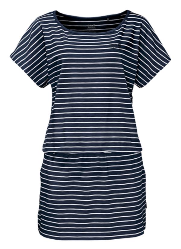 Платье Jack Wolfskin Travel Striped Dress, цвет: темно-синий, белый. 1504061-7819. Размер XS (42)1504061-7819Платье Travel Striped Dress изготовлено из полиэстера с добавлением эластана. Ткань мягкая, легкая, приятная на ощупь и дышащая. Если вы вдруг попадете под дождь, ткань высохнет практически мгновенно, кроме того, специальная обработка позволяет уменьшить образование неприятных запахов. Модель имеет свободный крой, круглый вырез горловины и цельнокроеный рукав. На талии предусмотрена резинка, а сбоку расположены вшитые карманы. Модель дополнена принтом в полоску. Такое платье идеально подходит для путешествий в жаркие страны и повседневной носки в летний сезон.