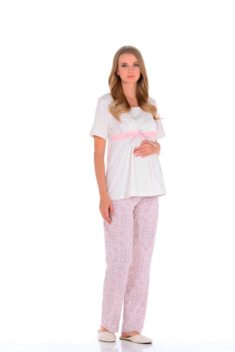 Пижама для беременных и кормящих Nuova Vita Pretty Mama, цвет: молочный, розовый. 507.01. Размер 42507.01Нежнейшая пижама для беременных и кормящих мамочек,приятного спокойного цвета. Модель свободного кроя и коротким рукавом, по передней части отрезная кокетка со шнуровкой, расположенная по линии груди. Под грудью небольшая сборка из складок, для более удобного комфорта для растущего животика. Кокетка имеет секрет для кормления малыша (передняя планка на небольших пуговицах, отстегивающихся с двух сторон, что значительно облегчает грудное вскармливание). Свободные штанишки на животик с регулируемой мягкой резинкой на пуговицах, позволяет будущей мамочке самой регулировать пояс на штанишках. Они очень удобны в носке, на протяжении всего периода, а также после родов. Пижама отлично сидит по фигуре, подойдет, как для ношения дома, так, и для роддома.