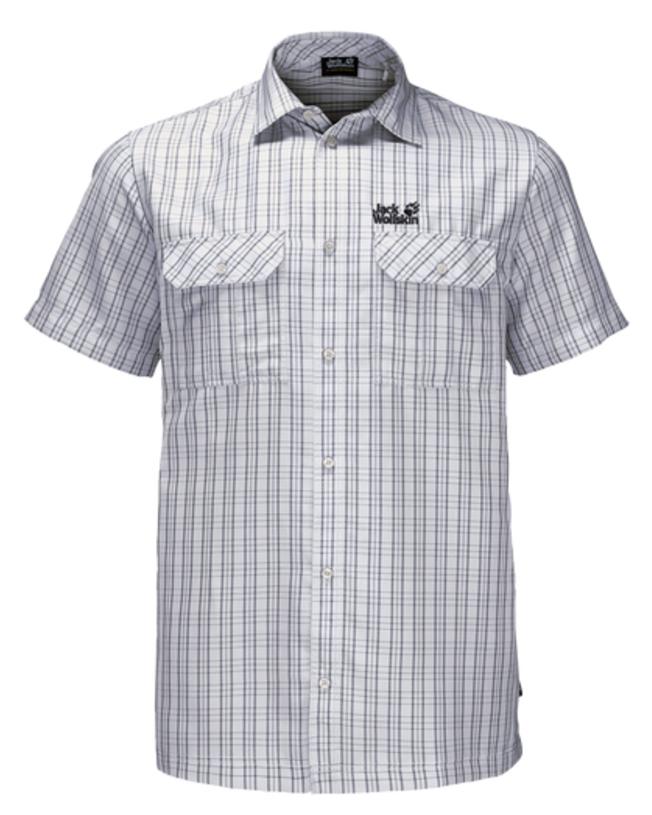 Рубашка мужская Jack Wolfskin Thompson Shirt M, цвет: светло-серый. 1401042-7508. Размер XL (52)1401042-7508Рубашка мужская Thompson Shirt M выполнена из 100% полиэстера. Ткань позволяет телу дышать и быстро сохнет. Модель идеально подходит для жаркой летней погоды и поездок в жаркие страны, так как обеспечивает хорошую терморегуляцию. Рубашка застегивается на пуговицы, имеет отложной воротник и короткие стандартные рукава. Спереди расположены два накладных кармана на пуговицах, чтобы важные вещи всегда были под рукой. Модель дополнена принтом в клетку и логотипом бренда.
