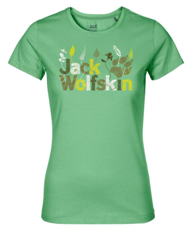Футболка женская Jack Wolfskin Brand T W, цвет: зеленый. 1804391-4154. Размер M (46)1804391-4154Футболка женская Jack Wolfskin Brand T W выполнена из полиэстера и органического хлопка. Благодаря такой смесовой ткани футболка прочная, но в тоже время мягкая и комфортная. Модель имеет круглый вырез горловины и стандартные короткие рукава. Футболка дополнена яркой надписью на груди с названием бренда.