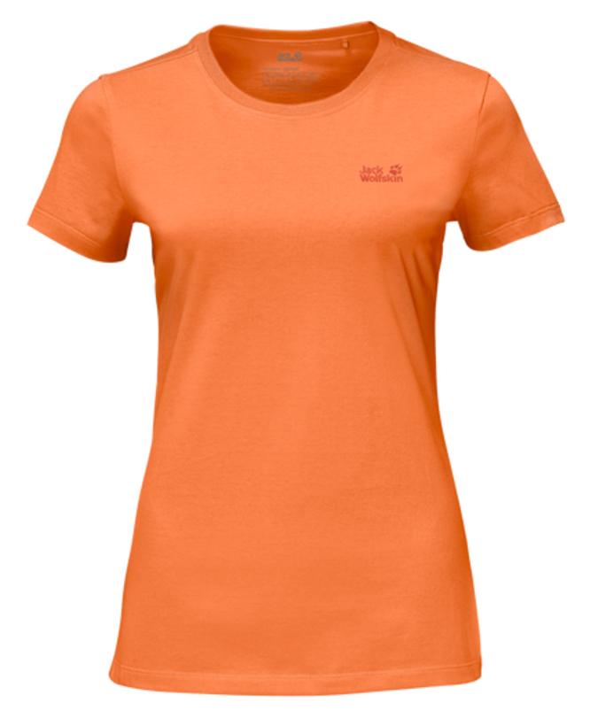 Футболка женская Jack Wolfskin Essential T W, цвет: оранжевый. 1805791-3441. Размер M (46)1805791-3441Футболка женская Essential T W изготовлена из полиэстера и органического хлопка. Ткань легкая и мягкая, быстро сохнет, приятная на ощупь и очень прочная. Модель имеет круглый вырез горловины и короткие стандартные рукава. Футболка дополнена логотипом бренда. В такой футболке вам будет комфортно весь день, она универсальна и подходит для повседневной жизни так же хорошо, как и для активного отдыха на природе.