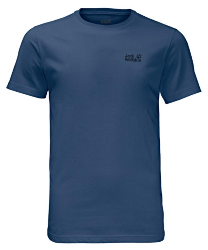 Футболка мужская Jack Wolfskin Essential T M, цвет: синий. 1805781-1588. Размер L (48/50)1805781-1588Футболка мужская Essential T M изготовлена из полиэстера и органического хлопка. Ткань легкая и мягкая, быстро сохнет, приятная на ощупь и очень прочная. Модель имеет круглый вырез горловины и короткие стандартные рукава. Футболка дополнена логотипом бренда. В такой футболке вам будет комфортно весь день, она универсальна и подходит для повседневной жизни так же хорошо, как и для активного отдыха на природе.
