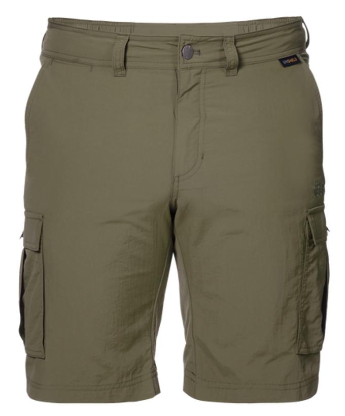 Шорты мужские Jack Wolfskin Canyon Cargo Shorts, цвет: оливковый. 1504201-5033. Размер 48 (48)1504201-5033Шорты мужские Canyon Cargo Shorts - это легкие шорты, которые идеально подходят для походов или путешествий в жаркую погоду. Специальная ткань SUPPLEX блокирует воздействие УФ-лучей и быстро сохнет при намокании. Модель застегивается на ширинку с молнией и пуговицу в поясе. На поясе предусмотрены шлевки для ремня. Шорты имеют два объемных накладных кармана сбоку и два вшитых кармана сзади.