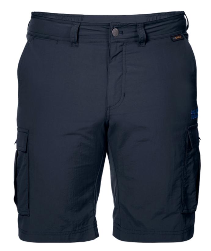 Шорты мужские Jack Wolfskin Canyon Cargo Shorts, цвет: синий. 1504201-1010. Размер 50 (50)1504201-1010Шорты мужские Canyon Cargo Shorts - это легкие шорты, которые идеально подходят для походов или путешествий в жаркую погоду. Специальная ткань SUPPLEX блокирует воздействие УФ-лучей и быстро сохнет при намокании. Модель застегивается на ширинку с молнией и пуговицу в поясе. На поясе предусмотрены шлевки для ремня. Шорты имеют два объемных накладных кармана сбоку и два вшитых кармана сзади.