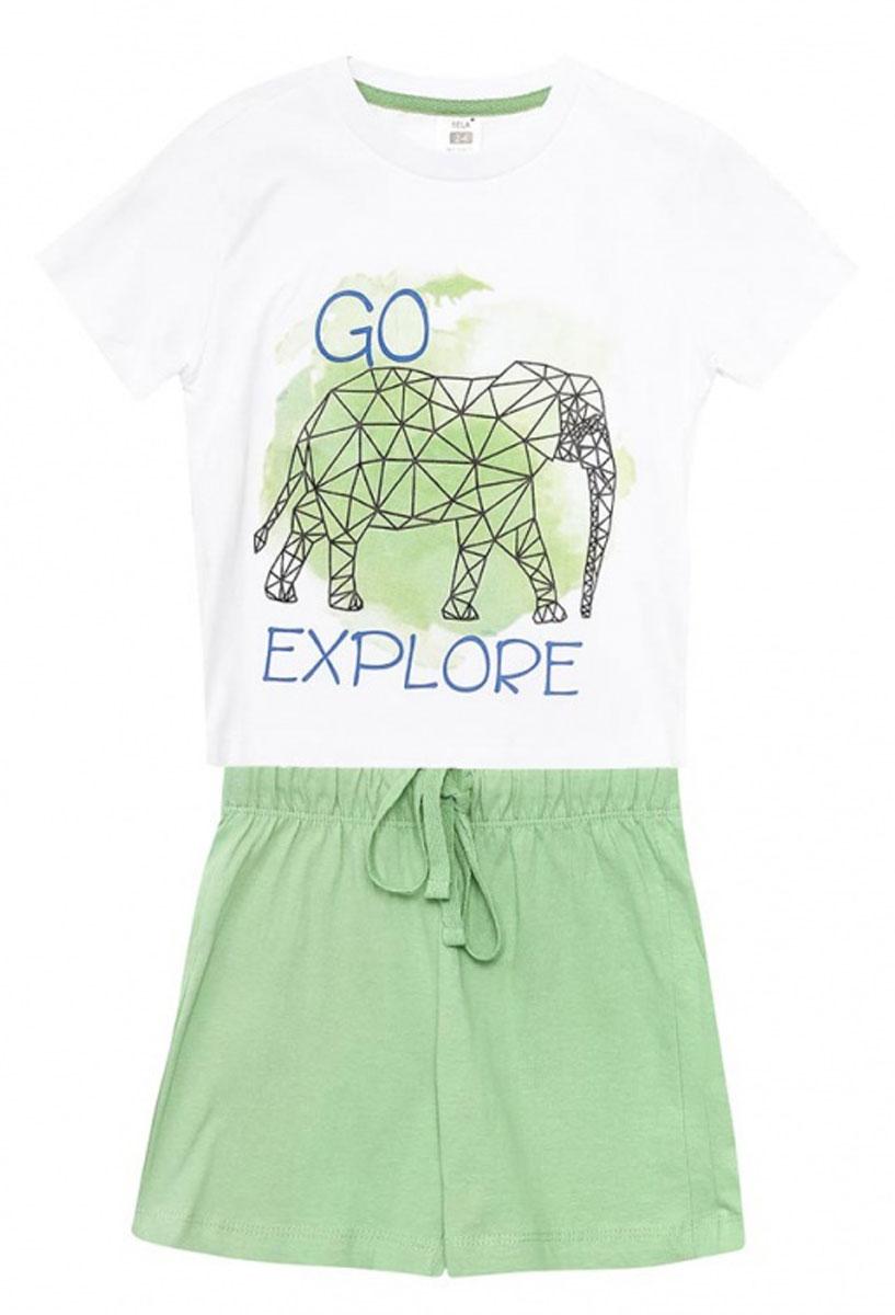 Пижама для мальчика Sela, цвет: ярко-зеленый. PYb-7862/014-7102. Размер 128/134, 8-10 летPYb-7862/014-7102Уютная пижама для мальчика Sela, состоящая из футболки и шорт, станет отличным дополнением к домашнему гардеробу. Пижама изготовлена из натурального хлопка, благодаря чему она приятна на ощупь и комфортна в носке. Футболка прямого кроя с короткими рукавами оформлена оригинальным принтом. Круглый вырез горловины дополнен мягкой эластичной бейкой. Однотонные короткие шорты прямого кроя имеют пояс на мягкой резинке, дополнительно регулируемый шнурком.