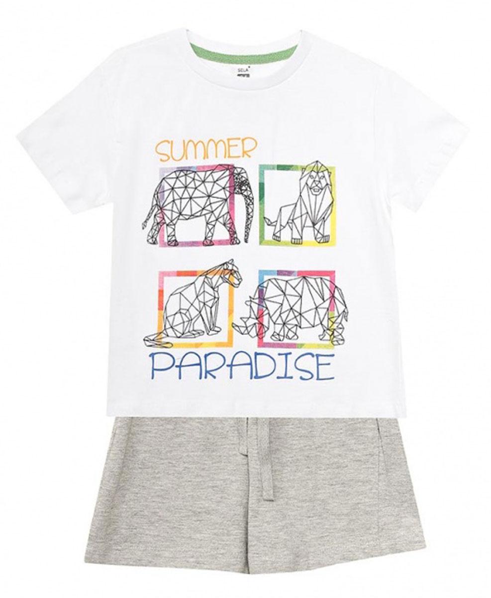 Пижама для мальчика Sela, цвет: серый меланж. PYb-7862/014-7102. Размер 116/122, 6-8 летPYb-7862/014-7102Уютная пижама для мальчика Sela, состоящая из футболки и шорт, станет отличным дополнением к домашнему гардеробу. Пижама изготовлена из натурального хлопка, благодаря чему она приятна на ощупь и комфортна в носке. Футболка прямого кроя с короткими рукавами оформлена оригинальным принтом. Круглый вырез горловины дополнен мягкой эластичной бейкой. Однотонные короткие шорты прямого кроя имеют пояс на мягкой резинке, дополнительно регулируемый шнурком.