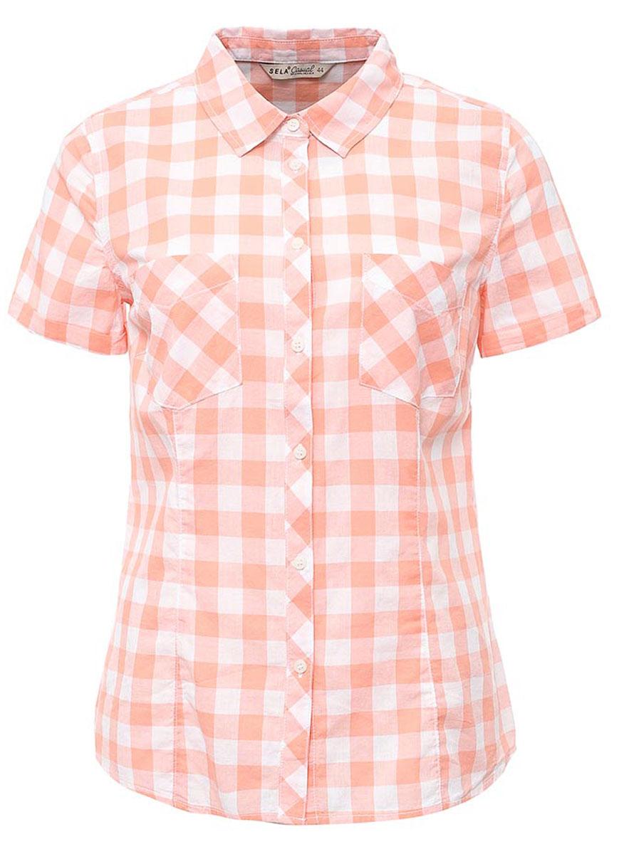 Рубашка женская Sela, цвет: коралловый. Bs-112/133-7263. Размер 52Bs-112/133-7263Женская рубашка Sela выполнена из натурального хлопка и оформлена принтом в крупную клетку. Модель прямого кроя с отложным воротничком и короткими рукавами застегивается на пуговицы и дополнена двумя накладными карманами. Рубашка подойдет для офиса, прогулок и дружеских встреч и будет отлично сочетаться с джинсами и брюками, и гармонично смотреться с юбками. Мягкая ткань комфортна и приятна на ощупь.