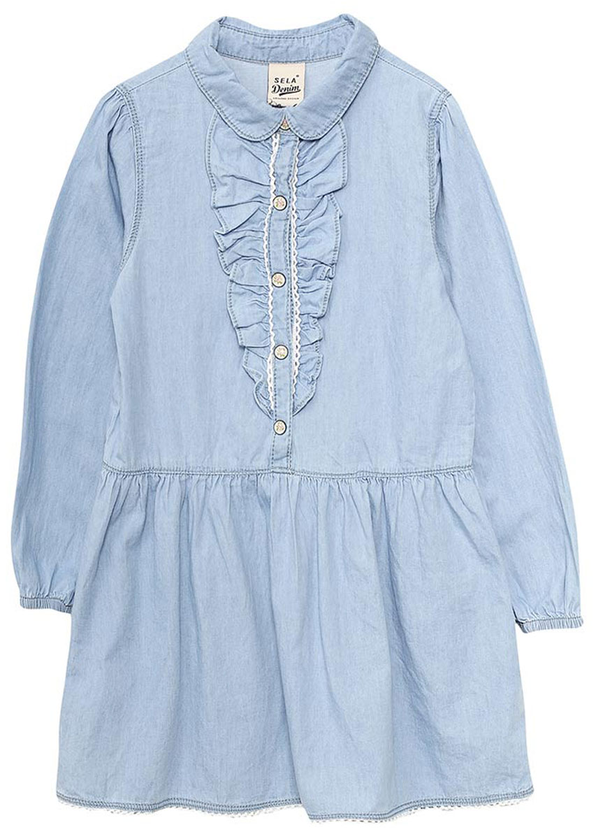 Платье для девочки Sela, цвет: голубой джинс. Dj-537/012-7122. Размер 104, 4 годаDj-537/012-7122Джинсовое платье для девочки Sela выполнено из натурального хлопка и оформлено рюшами и ажурным плетением. Модель с расклешенной юбкой и отложным воротничком застегивается на кнопки. Манжеты длинных рукавов дополнены резинками. Мягкая ткань комфортна и приятна на ощупь. Платье подойдет для прогулок и дружеских встреч и станет отличным дополнением гардероба.