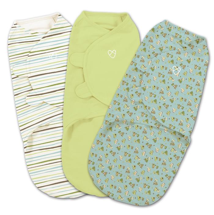Конверт для новорожденного Summer Infant SwaddleMe на липучке, цвет: белый, голубой, зеленый, 3 шт. 74960. Размер S/M, длина 55 см74960Мягко облегая, конверт не ограничивает движение ребенка, и в тоже время помогает снизить рефлекс внезапного вздрагивания, благодаря этому сон малыша и родителей будет более крепким. Регулируемые крылья для закрытия конверта выполнены таким образом, что даже самый активный ребенок не сможет распеленаться во время сна. Конверт можно открыть в области ног малыша для легкой смены подгузников - нет необходимости разворачивать детские ручки.