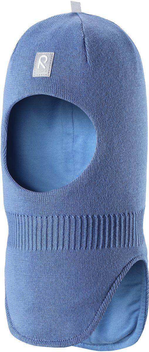 Балаклава детская Reima Ades, цвет: синий. 5183966550. Размер 485183966550Классическую балаклаву для малышей легко комбинировать с разнообразной верхней одеждой. Шапка-шлем связана из мягкого хлопка, поэтому ее можно носить и весной, и осенью. Эта модель хорошо защищает лоб, уши и шею, а ветронепроницаемые вставки в области ушей гарантируют дополнительную защиту от пронизывающего ветра.