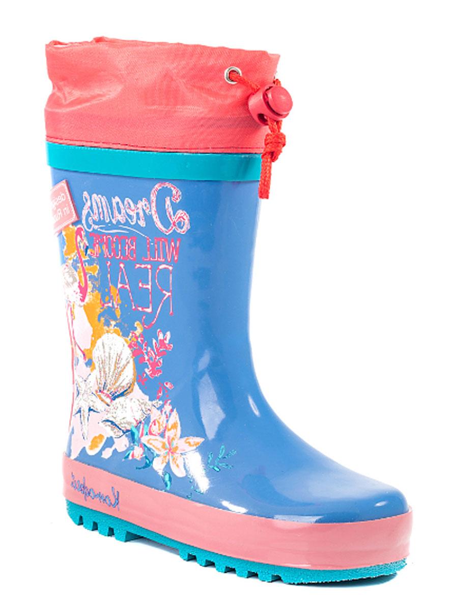 Сапоги резиновые для девочки Котофей, цвет: голубой, коралловый. 366152-11. Размер 27366152-11Резиновые сапоги от Котофей - идеальная обувь в холодную дождливую погоду для вашей девочки. Сапоги выполнены из качественной резины. Боковая сторона голенища оформлена оригинальным принтом. Подкладка и стелька из текстиля обеспечат комфорт. Текстильный верх голенища регулируется в объеме за счет шнурка со стоппером. Подошва дополнена рифлением.