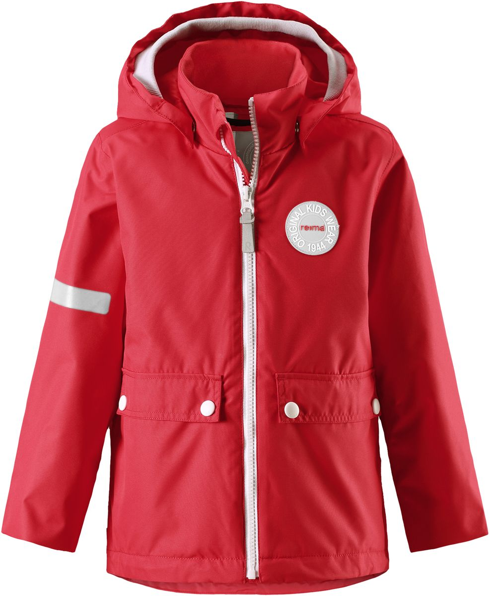 Куртка детская Reima Taag, цвет: красный. 5214813720. Размер 1165214813720В детской демисезонной куртке от Reima дождь не страшен: все основные швы проклеены, водонепроницаемы. Благодаря съемной стеганой жилетке эта куртка идеально подойдет для ранних весенних дней, ведь на улице все еще может быть холодно. А когда потеплеет, она легко превращается в облегченную модель. Большие карманы с клапанами и светоотражающие детали выполнены в ретро-стиле 70-х.