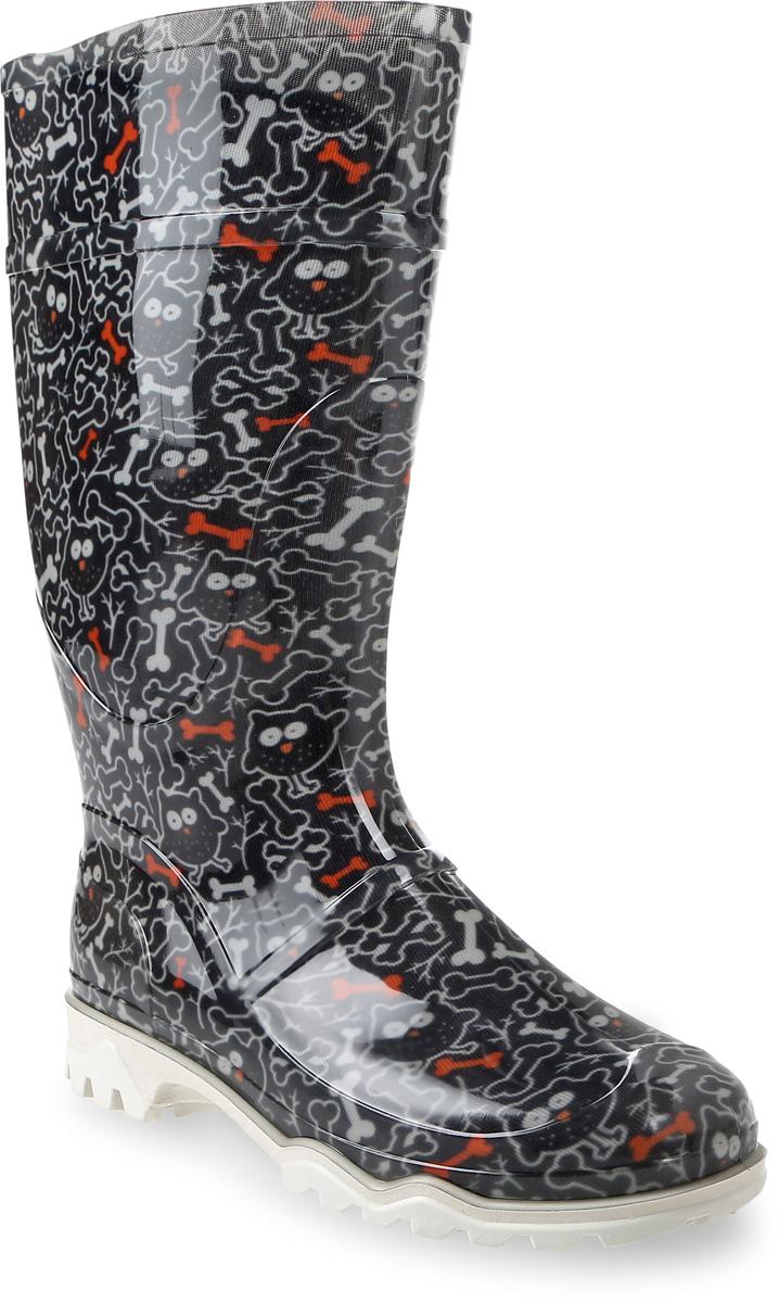 Сапоги резиновые женские Дюна, цвет: черный. 370 РУ (НТП)_совы с косточками. Размер 35370 РУ (НТП)_совы с косточкамиРезиновые сапоги от Дюна - превосходно защитят ваши ноги от промокания в дождливый день. Модель полностью выполнена из ПВХ, обладающего высокой эластичностью, 100% водонепроницаемостью, амортизационными свойствами и герметичностью, и оформлена ярким оригинальным принтом. Мягкий вынимающийся сапожок из искусственного меха не даст ногам замерзнуть и обеспечит комфорт. Ширина голенища компенсирует отсутствие застежек. Рельефная поверхность подошвы гарантирует отличное сцепление с любой поверхностью. Удобные сапоги поднимут вам настроение в дождливую погоду!