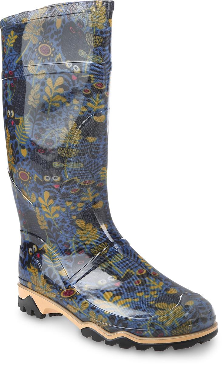 Сапоги резиновые женские Дюна, цвет: синий. 370 РУ (НТП)_совы с сердечками. Размер 35370 РУ (НТП)_совы с сердечкамиРезиновые сапоги от Дюна - превосходно защитят ваши ноги от промокания в дождливый день.Модель полностью выполнена из ПВХ, обладающего высокой эластичностью, 100% водонепроницаемостью, амортизационными свойствами и герметичностью, и оформлена оригинальным принтом. Мягкий вынимающийся сапожок из искусственного меха не даст ногам замерзнуть и обеспечит комфорт. Ширина голенища компенсирует отсутствие застежек. Рельефная поверхность подошвы гарантирует отличное сцепление с любой поверхностью. Удобные сапоги поднимут вам настроение в дождливую погоду!