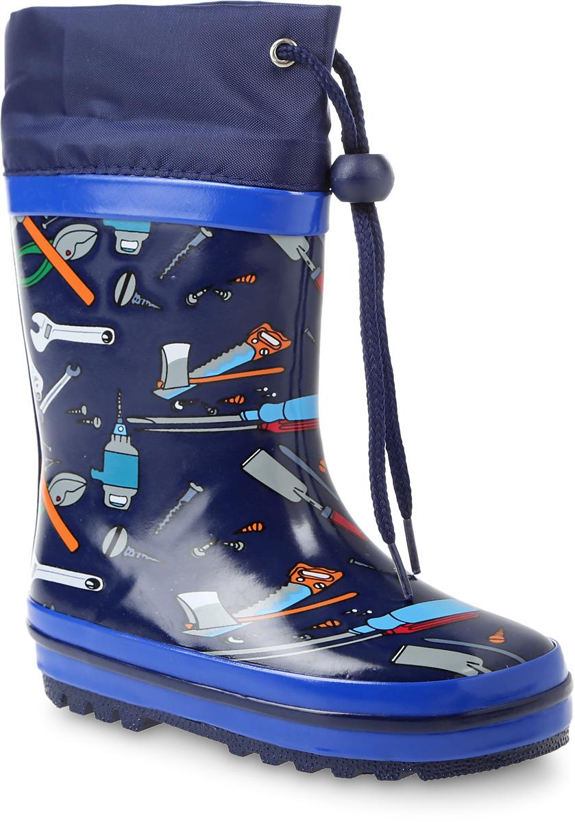 Сапоги резиновые для мальчика Счастливый ребенок, цвет: темно-синий. QZX234-1. Размер 27QZX234-1Резиновые сапоги Счастливый ребенок - идеальная обувь в холодную дождливую погоду для вашего мальчика. Сапоги выполнены из качественной резины. Голенище оформлено оригинальным принтом. Подкладка и стелька из байки обеспечат комфорт. Текстильный верх голенищарегулируется в объеме за счет шнурка со стоппером. Подошва дополнена рифлением.