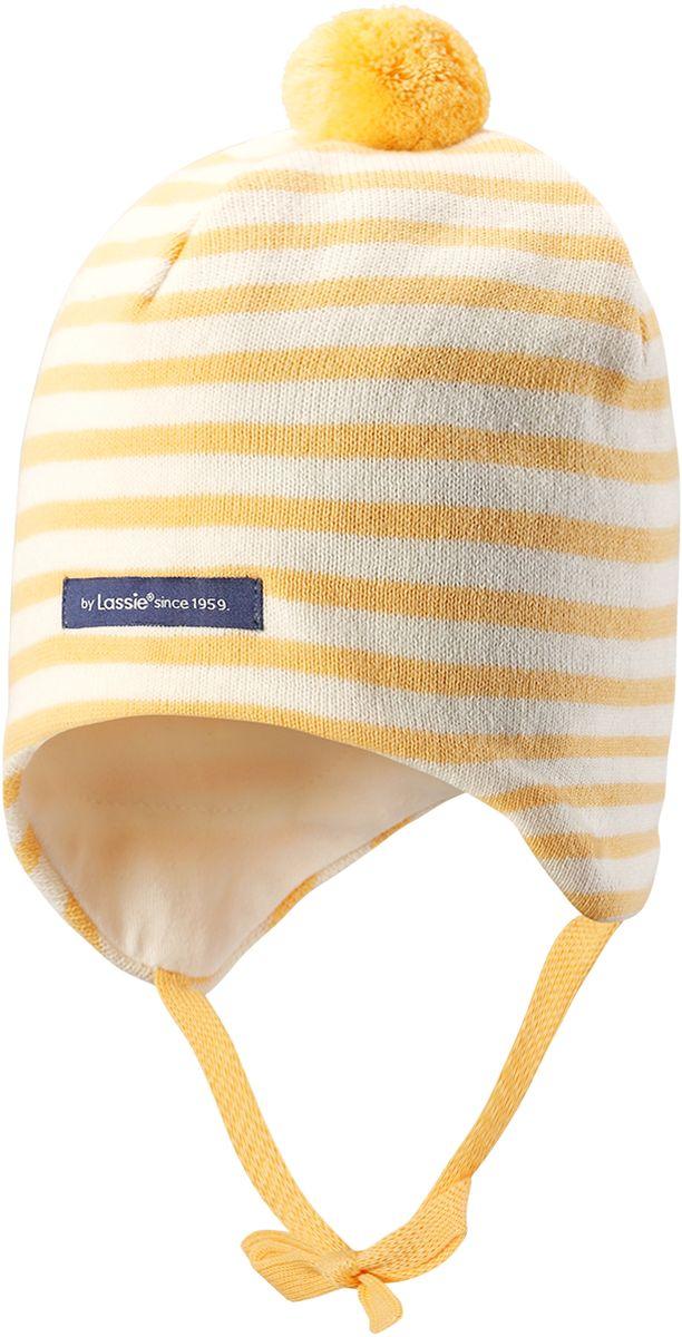 Шапка детская Lassie, цвет: желтый. 7187152190. Размер 44/467187152190Симпатичная шапка-бини для малышей с помпоном. Шапка сделана из мягкого хлопкового трикотажа на полной подкладке из гладкого дышащего хлопкового джерси. Она снабжена ветронепроницаемыми вставками, мягкими завязками и светоотражающей эмблемой на заднем шве.