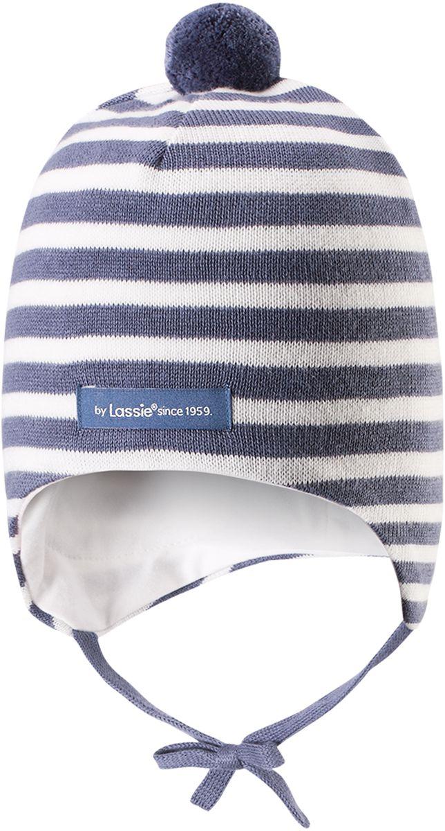 Шапка детская Lassie, цвет: синий. 7187159630. Размер 42/447187159630Симпатичная шапка-бини для малышей с помпоном. Шапка сделана из мягкого хлопкового трикотажа на полной подкладке из гладкого дышащего хлопкового джерси. Она снабжена ветронепроницаемыми вставками, мягкими завязками и светоотражающей эмблемой на заднем шве.