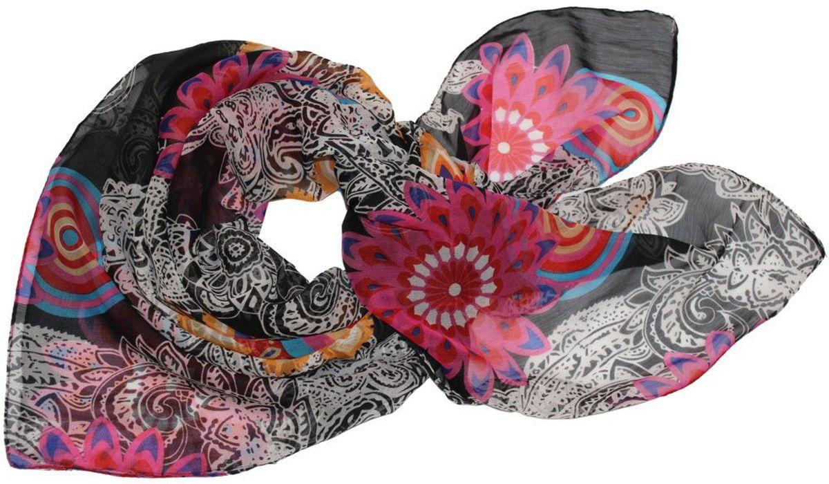 Платок женский Ethnica, цвет: черный, розовый, белый. 524040н. Размер 90 см х 90 см524040нПлаток Ethnica, выполненный из вискозы, гармонично дополнит образ современной женщины. Благодаря своему составу, он легкий, мягкий и приятный на ощупь. Модель оформлена оригинальным принтом. Классическая квадратная форма позволяет носить платок на шее, украшать им прическу или декорировать сумочку. С таким платком вы всегда будете выглядеть женственно и привлекательно.