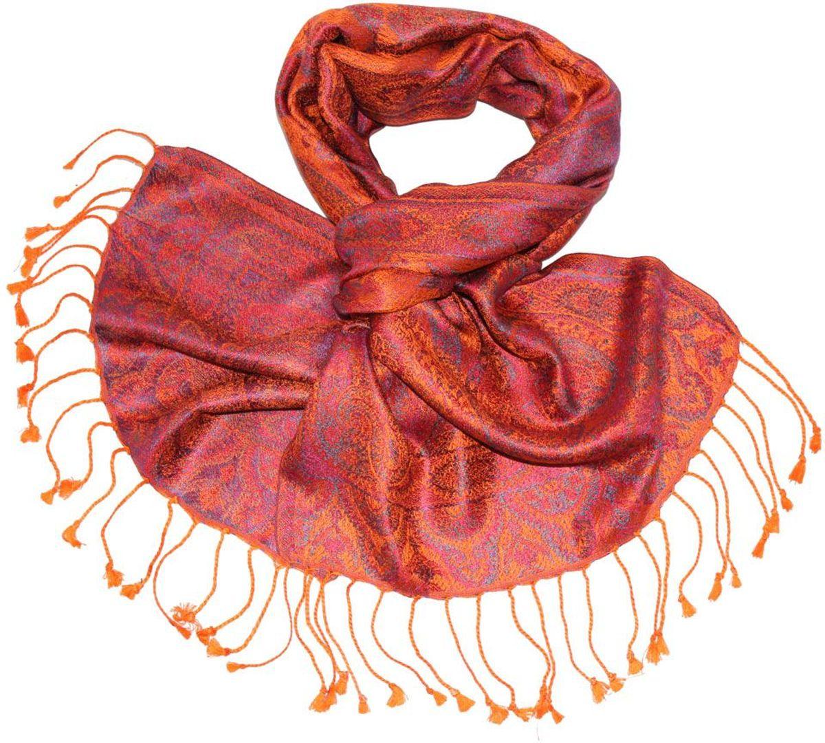 Шарф женский Ethnica, цвет: оранжевый, фиолетовый. 081370а. Размер 36 см х 165 см081370аЖенский шарф Ethnica, изготовленный из 100% шелка, подчеркнет вашу индивидуальность. Благодаря своему составу, он легкий, мягкий и приятный на ощупь. Изделие декорировано оригинальным этническим узором и дополнено кисточками.Такой аксессуар станет стильным дополнением к гардеробу современной женщины.