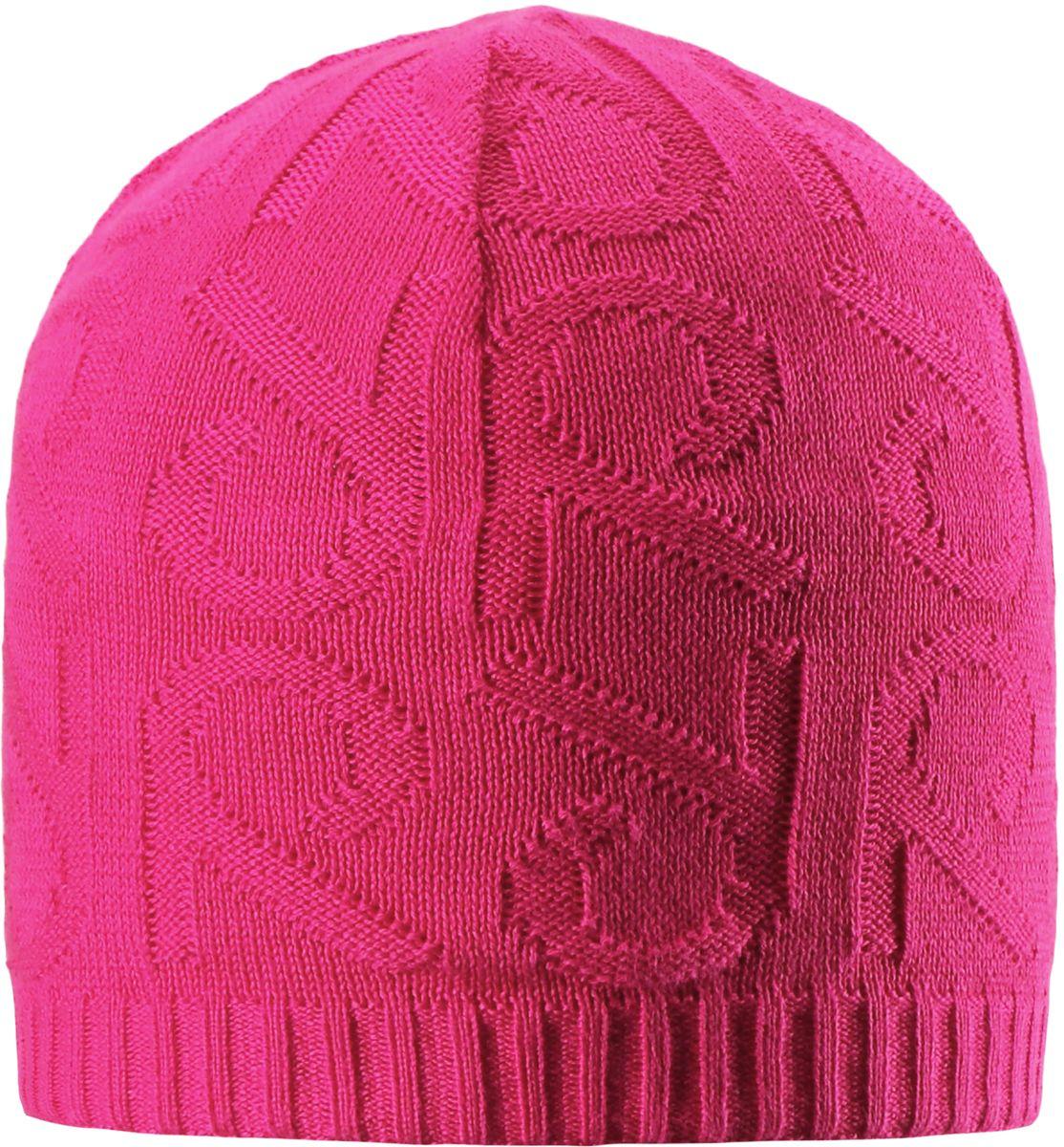 Шапка детская Reima Ankkuri, цвет: розовый. 5285114620. Размер 545285114620Стильная вязаная шапочка для малышей подходит на все случаи жизни. Благодаря модному рисунку она отлично сочетается с разными вариантами одежды. Полуподкладка из хлопчатобумажного трикотажа гарантирует тепло, а ветронепроницаемые вставки между верхним слоем и подкладкой, защищают уши. Светоотражающие детали помогут лучше разглядеть ребенка в темное время суток.
