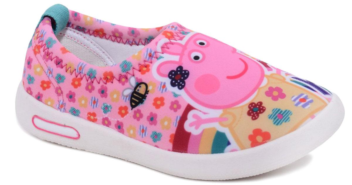 Слипоны для девочки Kakadu Peppa Pig, цвет: розовый. 6681A. Размер 256681AСтильные слипоны Peppa Pig от Kakadu - отличный выбор для юной модницы. Модель выполнена из воздухопроницаемого текстиля. Слипоны оформлены принтом с изображением Свинки Пеппы. Эластичная резинка вокруг ножки надежно фиксирует обувь. Внутренняя поверхность из мягкого хлопка создает комфорт при движении. Съемная анатомическая стелька обеспечивает правильное положение стопы, удобна в эксплуатации и позволяет быстро просушивать обувь. Мягкая подошва имеет отличную амортизацию, благодаря чему снижается нагрузка на суставы и позвоночник. Рифление на подошве гарантирует отличное сцепление с любыми поверхностями. Модные и удобные слипоны займут достойное место в гардеробе каждого ребенка.