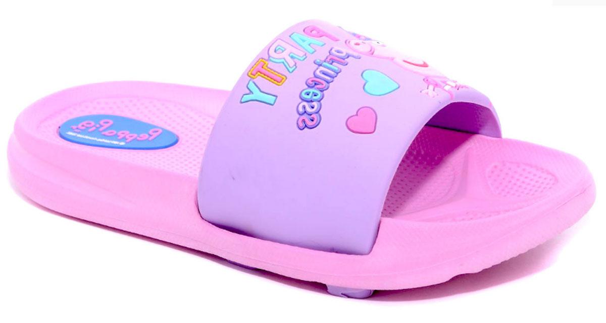 Шлепанцы для девочки Kakadu Peppa Pig, цвет: сиреневый, розовый. 6749B. Размер 286749BЯркие шлепанцы Peppa Pig от Kakadu придутся по душе вашей юной моднице. Модель выполнена из резины и на перемычке оформлена изображением Свинки Пеппы в образе принцессы. Рельеф на верхней поверхности подошвы предотвращает выскальзывание ноги. Подошва исполнена из ЭВА-материала. Материал ЭВА имеет пористую структуру, обладает великолепными теплоизоляционными и морозостойкими свойствами, придает обуви амортизационные свойства, мягкость при ходьбе, устойчивость к истиранию подошвы. Гибкая подошва дополнена рифлением, которое гарантирует идеальное сцепление с любыми поверхностями. Удобные шлепанцы прекрасно подойдут для похода в бассейн или на пляж.