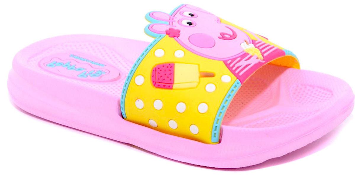 Шлепанцы для девочки Kakadu Peppa Pig, цвет: желтый, розовый. 6749A. Размер 306749AЯркие шлепанцы Peppa Pig от Kakadu придутся по душе вашей юной моднице. Модель выполнена из резины и на перемычке оформлена изображением Свинки Пеппы с мороженым. Рельеф на верхней поверхности подошвы предотвращает выскальзывание ноги. Подошва исполнена из ЭВА-материала. Материал ЭВА имеет пористую структуру, обладает великолепными теплоизоляционными и морозостойкими свойствами, придает обуви амортизационные свойства, мягкость при ходьбе, устойчивость к истиранию подошвы. Гибкая подошва дополнена рифлением, которое гарантирует идеальное сцепление с любыми поверхностями. Удобные шлепанцы прекрасно подойдут для похода в бассейн или на пляж.