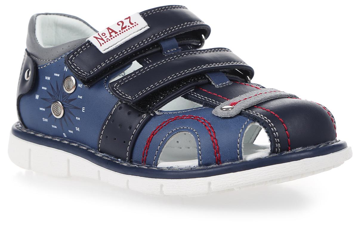 Сандалии для мальчика Сказка, цвет: темно-синий. R603221023. Размер 30R603221023Стильные сандалии Сказка придутся по душе вашему моднику! Модель выполнена из искусственной и натуральной кожи. Обувь оформлена оригинальным принтом. Мягкая стелька с поверхностью из натуральной кожи.Удобные сандалии - необходимая вещь в гардеробе каждого ребенка.