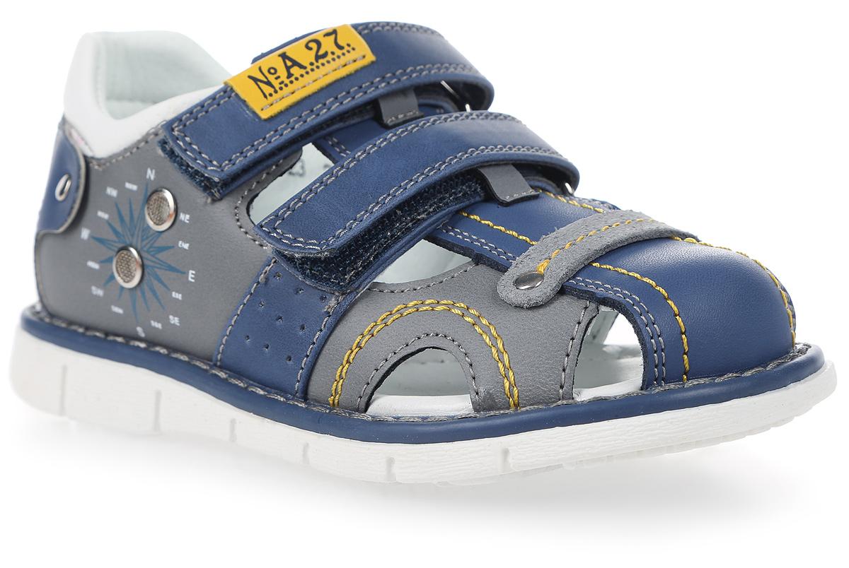 Сандалии для мальчика Сказка, цвет: светло-синий. R603221023. Размер 30R603221023Стильные сандалии Сказка придутся по душе вашему моднику! Модель выполнена из искусственной и натуральной кожи. Обувь оформлена оригинальным принтом. Мягкая стелька с поверхностью из натуральной кожи.Удобные сандалии - необходимая вещь в гардеробе каждого ребенка.