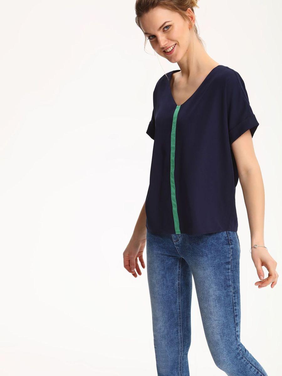 Блузка женская Top Secret, цвет: темно-синий. SBK2224GR. Размер 42 (50)SBK2224GRБлузка женская Top Secret выполнена из полиэстера и вискозы. Модель с V-образным вырезом горловины и короткими рукавами.