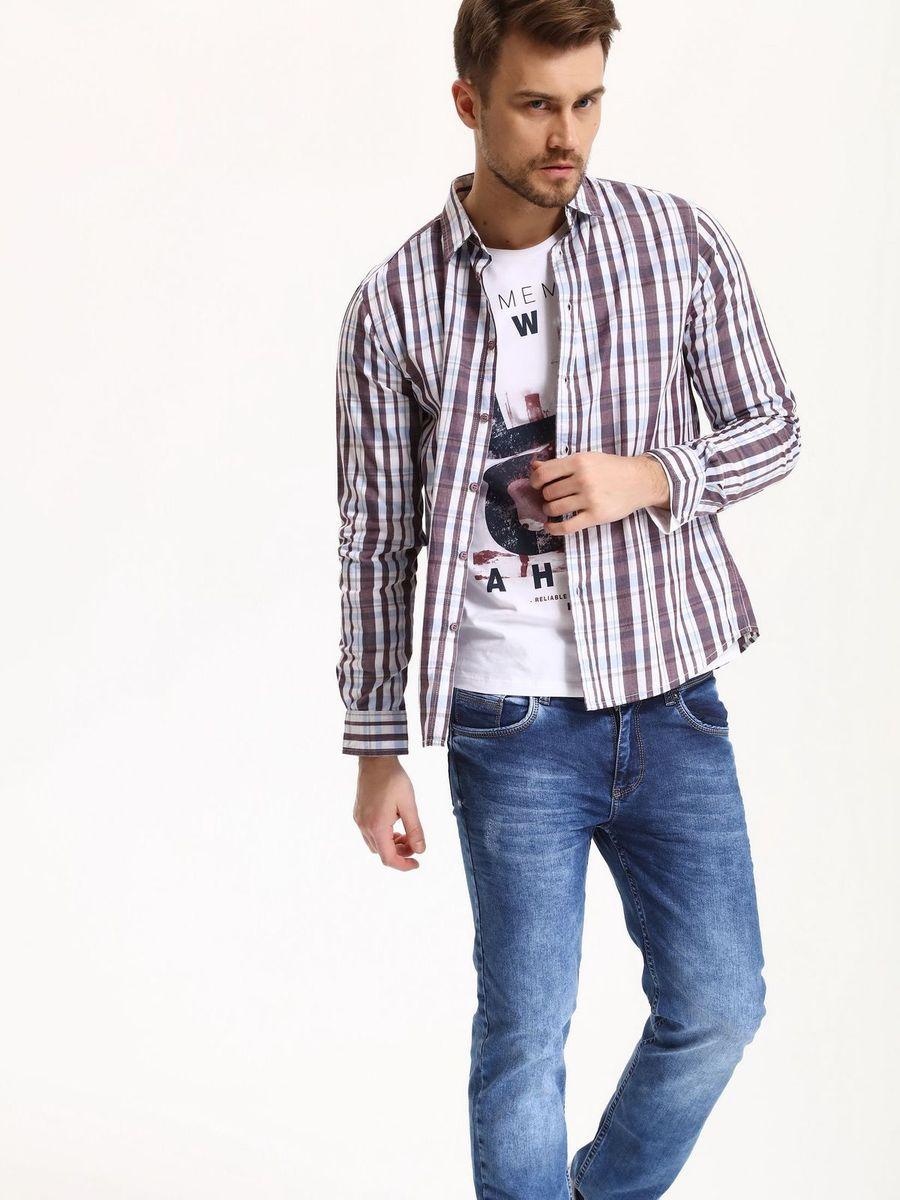 Рубашка мужская Top Secret, цвет: красный. SKL2285CE. Размер 46 (54)SKL2285CEРубашка мужская Top Secret выполнена из 100% хлопка. Модель с отложным воротником и длинными рукавами застегивается на пуговицы.
