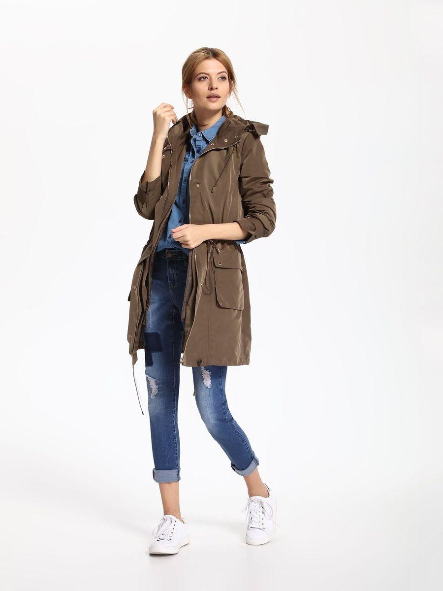 Куртка женская Top Secret, цвет: зеленый. SKU0752ZI. Размер 34 (42)SKU0752ZIЖенская куртка Top Secret выполнена из полиэстера. Модель с капюшоном и длинными рукавами застегивается на кнопки и застежку-молнию.